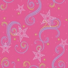 Star Glitter Wallpaper - Pink/Purple/Green