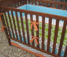 Custom Boutique Baby Bedding DESIGN YOUR OWN by MoonDreamerzzz.  Turn bumper into teething rail guards..