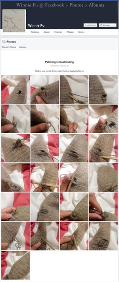 Patching in Naalbinding, step by step record of how to patch holes in needlebound items, photo tutorial by Winnie Fu. Shared 2016-03-05 [in English] Nålbinding group, here: https://www.facebook.com/groups/644499622267562/permalink/1118594934858026/ ~ Please see source link for full album where respective image can be viewed in fullsize!