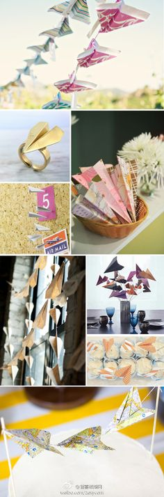 paper airplanes made with cute paper and ready to fly