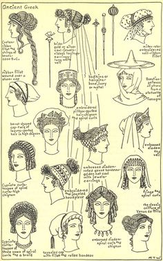 Women's hairstyles and accessories throughout ancient Greek history. Women's hairstyles and accessories throughout ancient Greek history. Ancient Greece Clothing, Ancient Greece Fashion, Ancient Roman Clothing, Greek History, Ancient History, Roman History, European History, American History, Greece Outfit