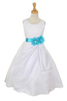 Girls Dress Style 1165- Choice of White or Ivory Dress with Turquoise Ribbon and Flower  Sleeveless bridal matte satin dress.  This dress is bridal quality and is made well and does not look like the cheap poly junk dresses that you see all over the market.  http://www.flowergirldressforless.com/mm5/merchant.mvc?Screen=PROD&Product_Code=CC_1165TUR&Store_Code=Flower-Girl&Category_Code=Turquoise