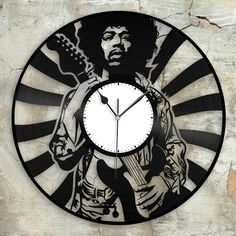 Hippie Jimi Hendrix Clock, Unique Wall Clock, Retro Clock, Gift For Him, Vinyl Record Clock, Collector Gift, Mens Cave Decoration, Vinyl Art by VinylShopUS on Etsy