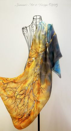 Elegant hand painted silk scarf -  At The Edge Of Winter - trees scarves- autumn scarf- winter scarf-seasonal-fall