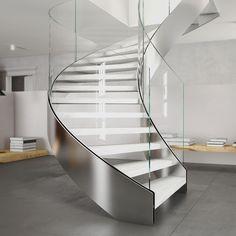 Escalera helicoidal / estructura de metal / peldaño de madera / con zancas laterales EXCLUSIVE : HELIKA LUX CAST SCALE