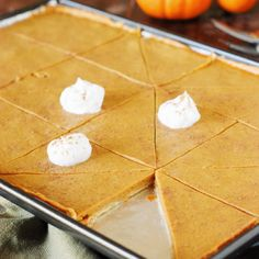 Pumpkin Slab Pie (Printable recipe) Recipe Desserts with pies, pure pumpkin, brown sugar, cinnamon, ginger, nutmeg, salt, eggs, evaporated milk, whipped cream, pumpkin pie spice