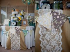 Paper bunting tied with ribbons