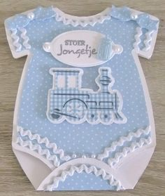 handmade baby card from GREET'S KAARTENSITE ... shaped like a onesie with bottom flap opening .. baby blue ... steam engine .. luv the use of rick rack trim ...