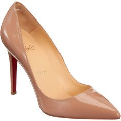 Christian Louboutin Women's Pigalle Pumps ($675) ❤ liked on Polyvore featuring shoes, pumps, heels, christian louboutin, nude, high heel shoes, patent leather pumps, christian louboutin pumps, heels stilettos and slip on shoes