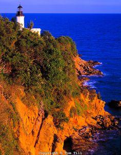 Tuna Point Lighthouse Atlantic Ocean, Puerto Rico Caribbean Sea Sunset March. Faro de Punta Tuna, Maunabo.