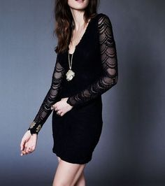 354621d6939b NEW FREE PEOPLE  352 Lace Bodycon Dress NIGHTCAP Long Sleeve Victorian Mini  XS  FreePeople