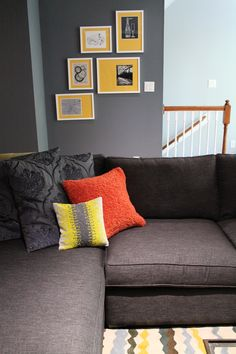 Gray Yellow Orange Rug Pillows Art #s2d | S Squared Design | Houston · Orange  RugsGray YellowDesign ProjectsHoustonHome IdeasMaster Bedroom Nice Look