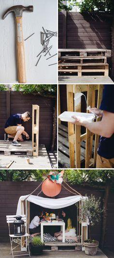 DIY three pallet wooden playhouse (so easy!).