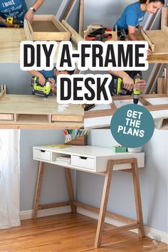 Learn how to build this DIY A-frame desk with drawers. This simple yet stylish wood desk is easy to make and makes any home office pop! Plus it uses only 4 power tools! #DIYdesk #woodworking #AnikasDIYLife Scrap Wood Projects, Woodworking Projects That Sell, Diy Woodworking, Diy Projects, Furniture Plans, Diy Furniture, Colorful Furniture, Family Room Decorating, Desk With Drawers