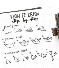 A step-by-step guide to drawing a paper plane, a pa . - A step-by-step guide to drawing a paper plane, paper ship, or origami bird … - Bullet Journal Paper, Bullet Journal Mood, Bullet Journal Ideas Pages, Bullet Journal Inspiration, Bullet Journals, Daily Journal, Art Journals, Paper Boat Origami, Origami Plane
