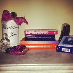 What's on your nightstand? #desiremap #maycausemiracles #buddha #gratitudejar #ACIM #FSS #firess