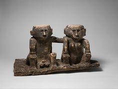 Ancestral Couple (Ana Deo), late 19th–early 20th century. Indonesia, Flores Island, East Nusa. Tenggara. the Metropolitan Museum of Art, New York. Gift of Fred and Rita Richman, 2006 (2006.510) | This remarkable couple from the Nage people of the island of Flores probably represent the founders of one of the village clans. Whatever its original function, the quiet dignity of the figures, with the man's arm clasped tenderly around his consort's shoulder, makes it a compelling work.