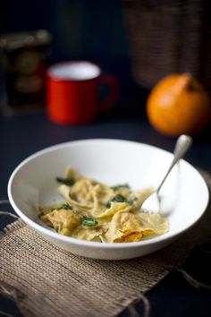 Home made ravioli with pumpkin and sage Camera and Clementine