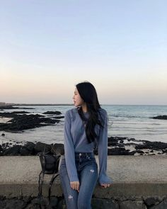 sea breeze and the whole sea put life into perspective Korean Girl Photo, Korean Girl Fashion, Korean Fashion Trends, Korean Street Fashion, Ulzzang Fashion, Best Photo Poses, Girl Photo Poses, Girl Photography Poses, Fashion Model Poses