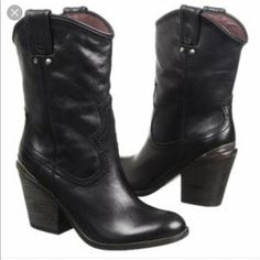 Lucky Brand Elle Cowboy Boots Black Leather