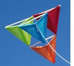 There are many kite designs, but the pyramid kite is easy to make and a fun project for kids. I made my first one in second grade (Thank you, Mrs. Mckee, wherever you are). My homemade kite lasted for almost ten years of blustery springs spent. Fun Projects For Kids, Art Projects, Crafts For Kids, Homemade Kites, Kites For Kids, Box Kite, Kite Making, Stunt Kite, Kite Designs