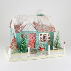 Kitsch House with Reindeer | Retro Glitter Putz Christmas House-Holiday Barn