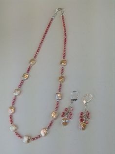 Lei   necklace and earring set Fresh water by ScarletMareStudio, $68.00
