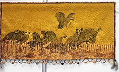 quilt of the guinea fowls bathing in the dust