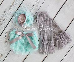 Aqua & Gray Cake Smash Set- Lace Diaper Cover, Headband, bloomers, leggings, newborn, baby girl, toddler, birthday, cake smash, photo prop