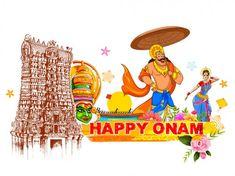King Mahabali in Onam background showing culture of Kerala — Stock Illustration