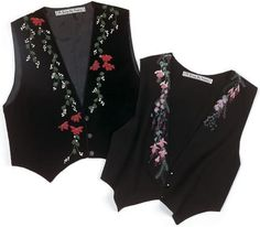 Vests come to life with asymmetrical floral designs embroidered with silk ribbon.