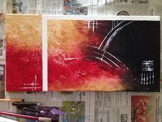 abstraktes acrylbild 2 teilig in den farben rot violett. Black Bedroom Furniture Sets. Home Design Ideas