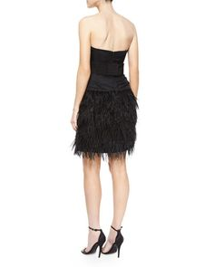 TAGPV Milly Strapless Feather-Skirt Cocktail Dress
