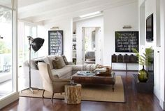 contemporary-rustic-modern-living-room-wood-trunk-table