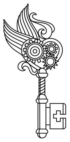 Steam Motifs - Winged Key | Urban Threads: Unique and Awesome Embroidery Designs