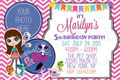 Littlest Pet Shop Birthday Invitation Personalized By Partybean 1150 8th Stuff
