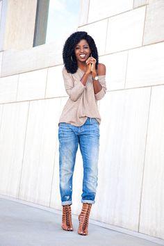 Off Shoulder Knit Sweater + Distressed Boyfriend Jeans