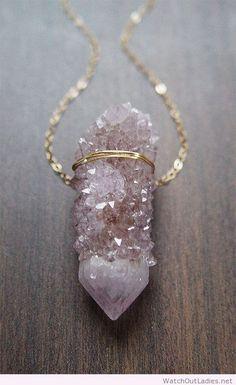 Lavender spirit quartz necklace gold