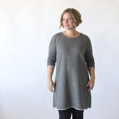 Learn how to sew a cozy long sleeve sweater dress with this easy to follow sewing tutorial and free printable pattern.