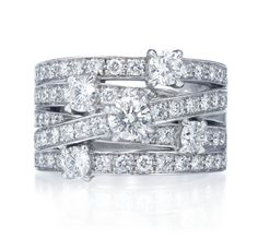 Harry Winston Crossover Ring, 5 rows of 62 round brilliant diamonds, approximately 2.00 total carats; platinum setting.