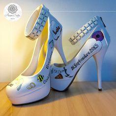 Zapatos personalizados para una boda. Estilo alegre y colorido!