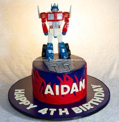 Optimus Prime Transformers cake - Optimus prime handmade out of fondant by me