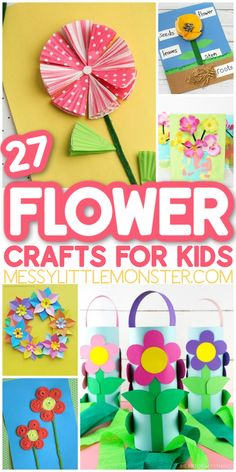 27 fun and easy flower crafts for kids Summer Crafts For Toddlers, Cute Kids Crafts, Easy Crafts For Kids, Craft Activities For Kids, Toddler Crafts, Craft Stick Crafts, Paper Crafts, Children Crafts, Activity Ideas