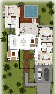 colour floor plan for a building company - Manunda QLD - Sims House Plans, Dream House Plans, Modern House Plans, House Floor Plans, Building Companies, House Blueprints, House Layouts, Architecture Plan, Future House