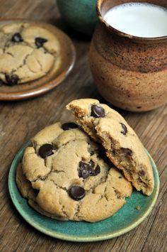 Tahini Chocolate Chip Cookies Makes ~2 dozen. 1 c sugar ⅔ c tahini ¼ c butter 1 Tbsp blackstrap molasses ¼ c water ½ tsp vanilla 1½ c flour ½ tsp baking soda ½ tsp salt ¾ c vegan chocolate chips