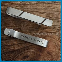 Forever and Always Gift Tie Clip Wedding Tie Bar Anniversary Gift Groom Tie Clip Husband Tie Clip For Him Mens Gift Mens Tie Clip - Groom cufflinks and tie clips (*Amazon Partner-Link)