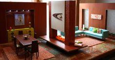 Mid-century modern dollhouse decor.