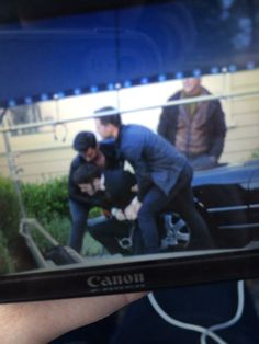 Lana greeting Ginny and Josh as they arrive on set today.