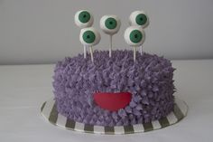 monster cake with cake pop eyeballs