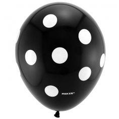 Black with White Polka Dots Printed Latex Balloons (8)